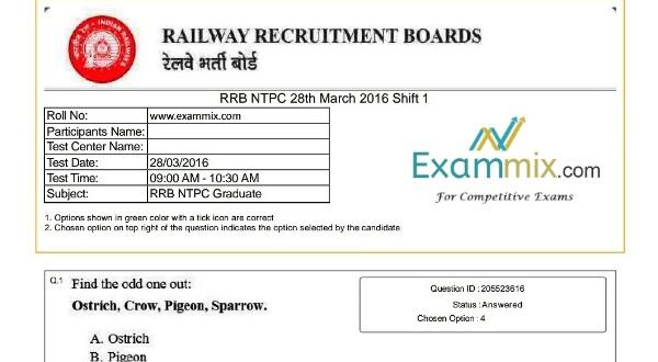 RRB NTPC Previous Papers in English