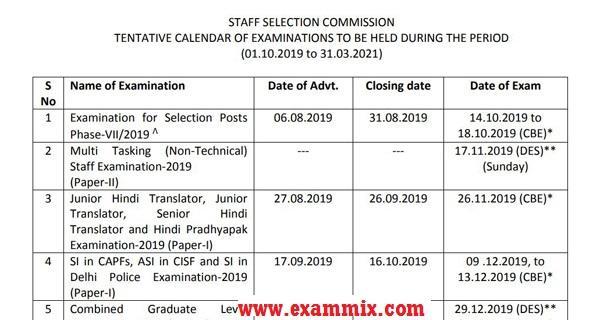 SSC Exam Calendar 2019-2021