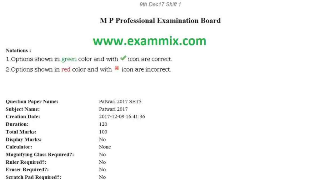MP Patwari Question Paper in Hindi PDF
