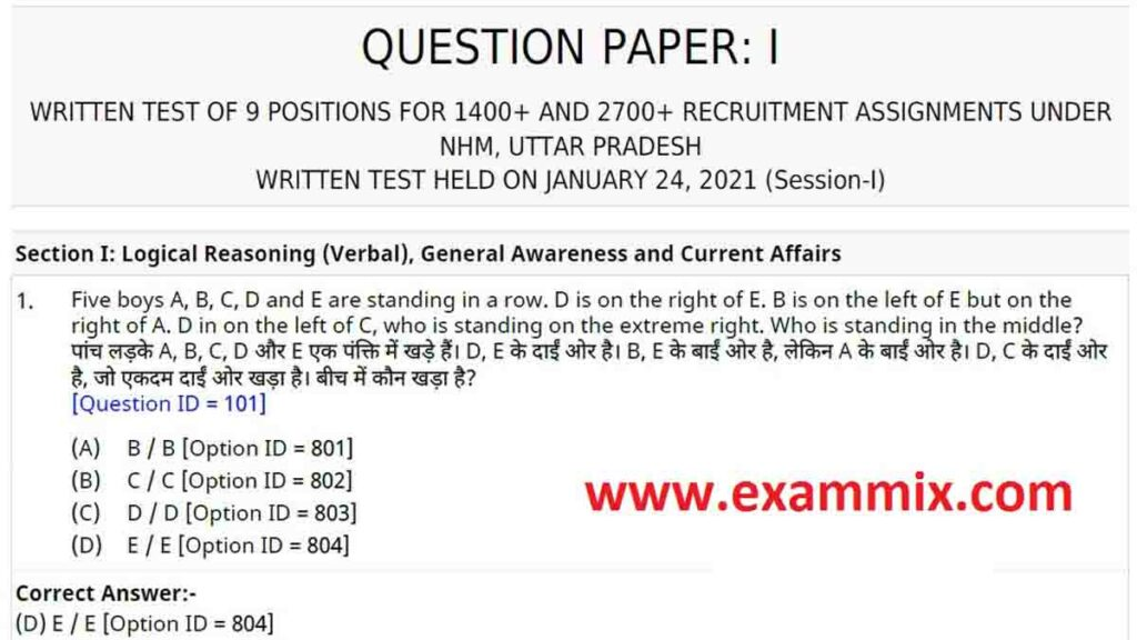 NHM UP Question Paper 2021
